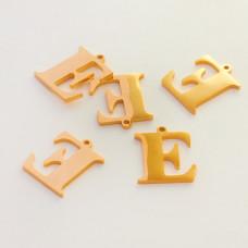 Zawieszka ze stali szlachetnej literka E złota 13,8mm