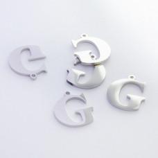 Zawieszka ze stali szlachetnej literka G srebrna 13,6mm