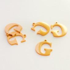 Zawieszka ze stali szlachetnej literka G złota 13,6mm