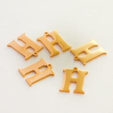 Zawieszka ze stali szlachetnej literka H złota 14mm