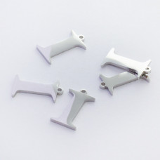 Zawieszka ze stali szlachetnej literka I srebrna 14,1mm