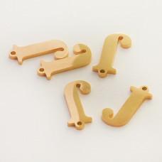 Zawieszka ze stali szlachetnej literka J złota 13,6mm