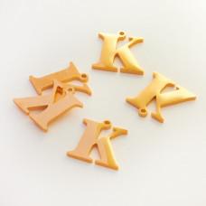 Zawieszka ze stali szlachetnej literka K złota 12,6mm