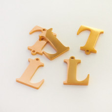 Zawieszka ze stali szlachetnej literka L złota 13,4mm