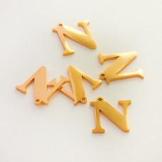 Zawieszka ze stali szlachetnej literka N złota 13mm