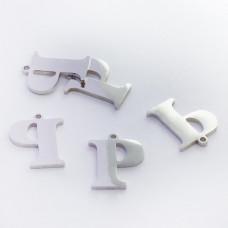 Zawieszka ze stali szlachetnej literka P srebrna 13,7mm