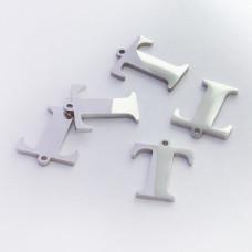 Zawieszka ze stali szlachetnej literka T srebrna 13,5mm