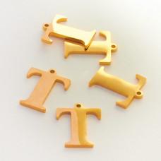 Zawieszka ze stali szlachetnej literka T złota 13,5mm