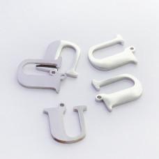 Zawieszka ze stali szlachetnej literka U srebrna 13,8mm