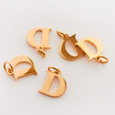 Zawieszka ze stali chirurgicznej literka D złota 7,5mm