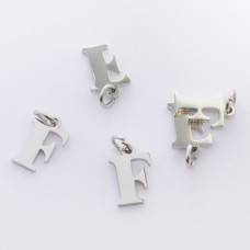 Zawieszka ze stali chirurgicznej literka F srebrna 8mm