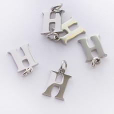 Zawieszka ze stali chirurgicznej literka H srebrna 8mm