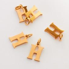 Zawieszka ze stali chirurgicznej literka H złota 8mm