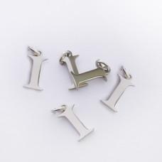 Zawieszka ze stali chirurgicznej literka I srebrna 8mm