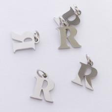 Zawieszka ze stali chirurgicznej literka R srebrna 8mm
