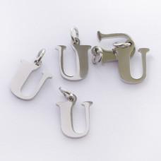Zawieszka ze stali chirurgicznej literka U srebrna 8mm