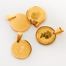 Zawieszka ze stali chirurgicznej moneta złota 20mm
