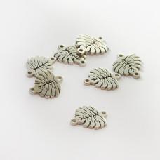 Łącznik ze stali chirurgicznej liść monstery srebrny 10mm