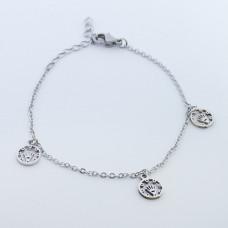 Bransoletka ze stali chirurgicznej trzy korony w kółku 19cm srebrna