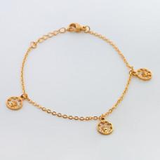 Bransoletka ze stali chirurgicznej trzy korony w kółku 19cm złota