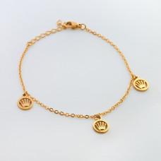 Bransoletka ze stali chirurgicznej korona w kółku 19cm złota