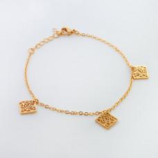 Bransoletka ze stali chirurgicznej z kwadratem ażurowym 19,5cm złota
