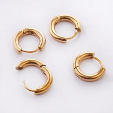 Kolczyki koła zapinane ze stali chirurgicznej złoty 12mm