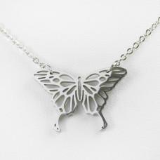 Naszyjnik ze stali chirurgicznej motyl srebrny 47cm