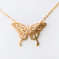 Naszyjnik ze stali chirurgicznej motyl złoty 47cm
