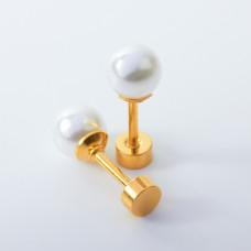 Kolczyki sztyfty z perłami ze stali chirurgicznej złote 6mm