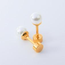 Kolczyki sztyfty z perłami ze stali chirurgicznej złote 5mm