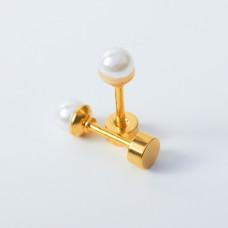 Kolczyki sztyfty z perłami ze stali chirurgicznej złote 4mm