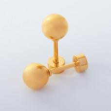 Kolczyki kulki ze stali chirurgicznej złote 6mm
