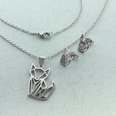 Komplet biżuterii ze stali chirurgicznej z kolczykami kotek origami 50cm