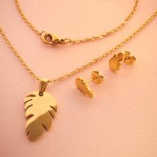 Komplet biżuterii ze stali chirurgicznej z kolczykami piórko 50cm