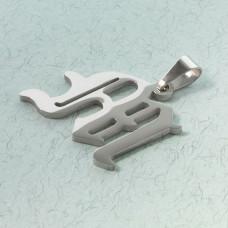 Zawieszka literka gotycka M ze stali chirurgicznej zkrawatką 23mm