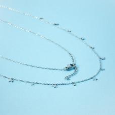 Naszyjnik z mini zawieszkami ze stali chirurgicznej gwiazdki srebrny 40cm
