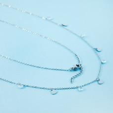 Naszyjnik z mini zawieszkami ze stali chirurgicznej serduszka i cyrkonie srebrny 41cm