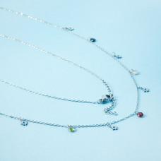 Naszyjnik z mini zawieszkami ze stali chirurgicznej róża wiatrów i cyrkonie srebrny 41cm