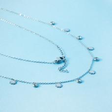 Naszyjnik z mini zawieszkami ze stali chirurgicznej słoneczka i cyrkonie w okuciu srebrny 40cm