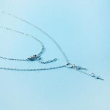 Naszyjnik z mini zawieszkami ze stali chirurgicznej kółko i krzyżyk srebrny 40cm