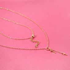Naszyjnik z mini zawieszkami ze stali chirurgicznej kółko i krzyżyk złoty 40cm
