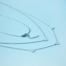 Naszyjnik z mini zawieszkami ze stali chirurgicznej serduszka srebrny 40cm