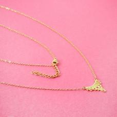 Naszyjnik z mini zawieszkami ze stali chirurgicznej ażur złoty 40,5cm
