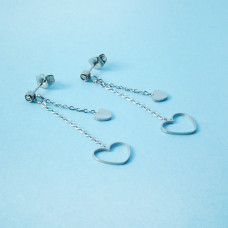 Kolczyki ze stali chirurgicznej serduszko wycięte srebrne 4,5cm