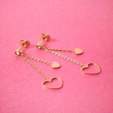 Kolczyki ze stali chirurgicznej serduszko wycięte złote 4,5cm