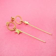 Kolczyki ze stali chirurgicznej kółko z patyczkiem i gwiazdką złote 6cm