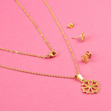 Komplet biżuterii ze stali chirurgicznej krzyż celtycki złoty 45cm