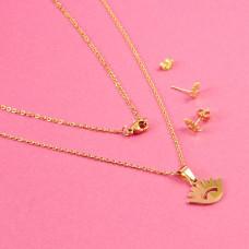 Komplet biżuterii ze stali chirurgicznej oczko złoty 45cm