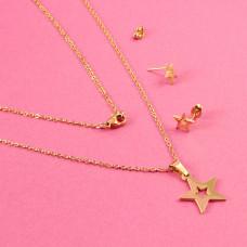 Komplet biżuterii ze stali chirurgicznej gwiazdka wycięta złoty 45cm
